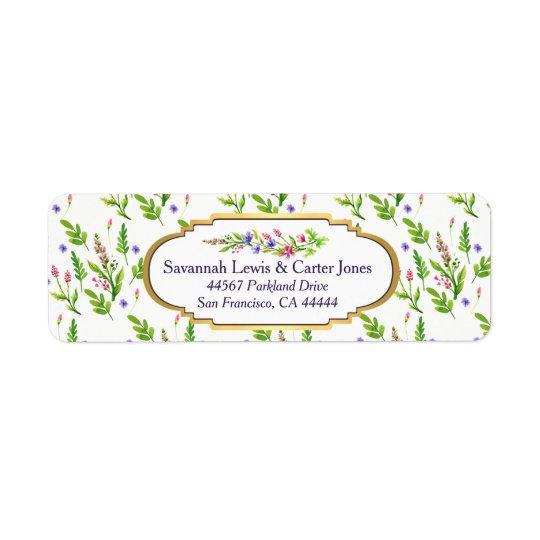 Pastel Multifloral & Gold Frame Return Address