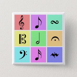pastel music symbols 2 inch square button
