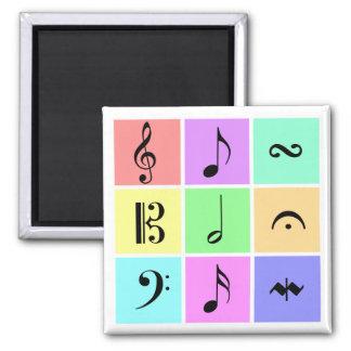 pastel music symbols square magnet