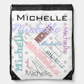 Pastel Name Polka Dot Drawstring Bag