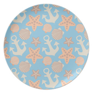 Pastel Nautical Pattern Plate