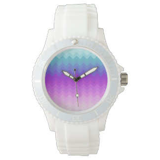 Pastel Ombre Chevron Pattern Watch
