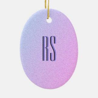 Pastel Ombre Glitter Monogram Ceramic Ornament