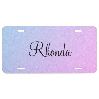 Pastel Ombre Glitter Personalized License Plate