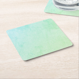 Pastel Ombre Green Glitter Look Square Paper Coaster