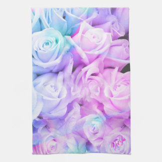 Pastel Ombre Roses Floral Kitchen / Hand Towel