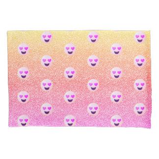 Pastel Ombre Sparkles Heart Eyed Emoji Pillowcase