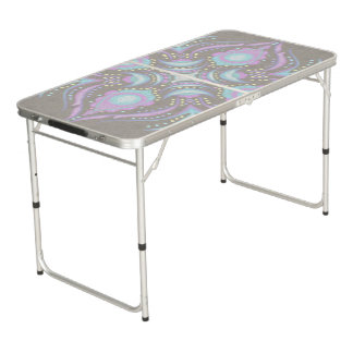 Pastel on Concrete Street Mandala Beer Pong Table