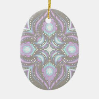 Pastel on Concrete Street Mandala Ceramic Ornament