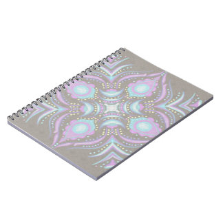 Pastel on Concrete Street Mandala Spiral Note Books