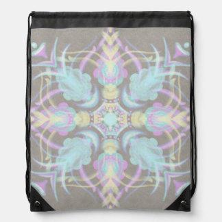 Pastel on Concrete Street Mandala (variation) Drawstring Bag