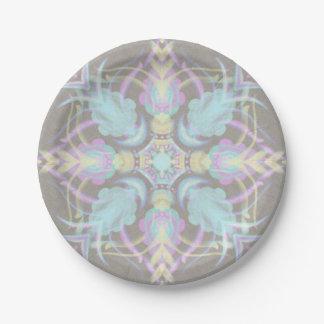 Pastel on Concrete Street Mandala (variation) Paper Plate