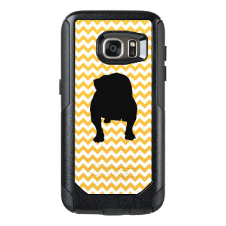 Pastel Orange Chevron With English Bulldog OtterBox Samsung Galaxy S7 Case