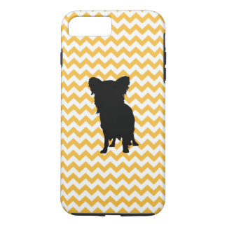 Pastel Orange Chevron With Yorkie Silhouette iPhone 7 Plus Case