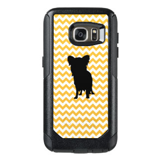 Pastel Orange Chevron With Yorkie Silhouette OtterBox Samsung Galaxy S7 Case