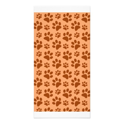 Pastel orange dog paw print pattern personalized photo card