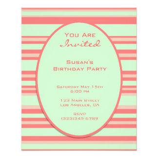 pastel orange green stripes party flyer