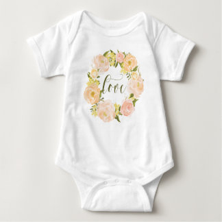 Pastel Orange Peonies Wreath   Love Lettering Baby Bodysuit