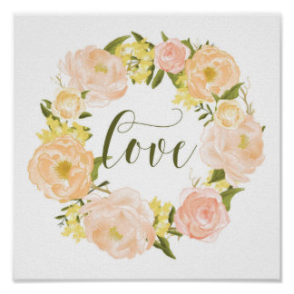 Pastel Orange Peonies Wreath | Love Lettering Poster