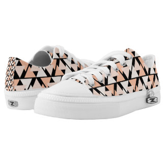 Pastel Orange Triangle Pattern Low Top Sneakers
