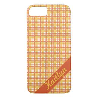 Pastel orange with yellow tartan pattern with name iPhone 7 case