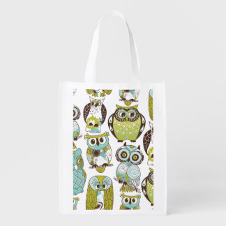 Pastel Owl Pattern Reusable Grocery Bag