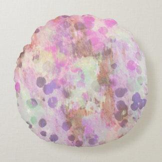 Pastel paint splash on round throw pillow