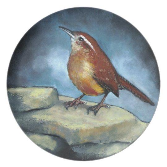 Pastel Painting of Bird: Carolina Wren on Rocks Plate
