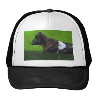 Pastel Painting of Holstein Cow in Sunshine Trucker Hat