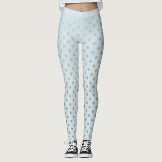 Pastel pale blue and gold dot leggings