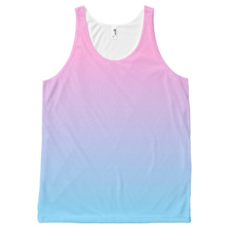 Pastel Pale Pink and Blue Gradient All-Over-Print Tank Top