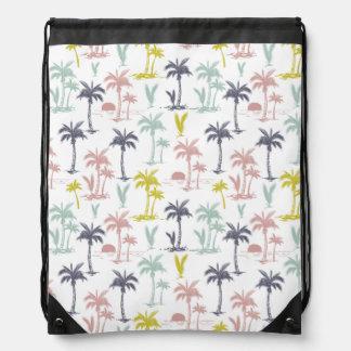 Pastel Palm Tree by the Beach Pattern Drawstring Bag