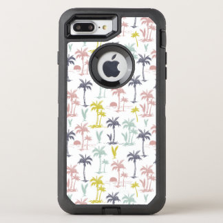 Pastel Palm Tree by the Beach Pattern OtterBox Defender iPhone 8 Plus/7 Plus Case