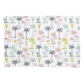 Pastel Palm Tree by the Beach Pattern Pillowcase