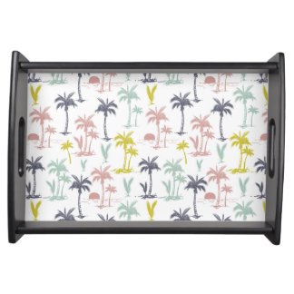 Pastel Palm Tree by the Beach Pattern Serving Tray