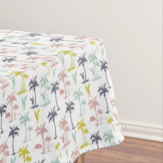 Pastel Palm Tree by the Beach Pattern Tablecloth