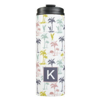 Pastel Palm Tree by the Beach Pattern Thermal Tumbler
