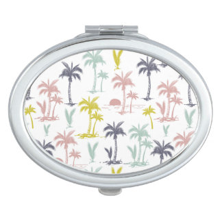 Pastel Palm Tree by the Beach Pattern Travel Mirror