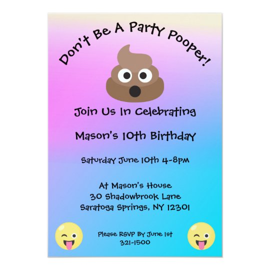 Pastel Party Pooper Emoji Birthday Invite
