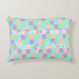 Pastel Patchwork Personalized Accent Pillow