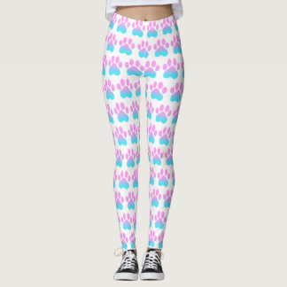 Pastel Paws White Athleisure Yoga Pants Leggings