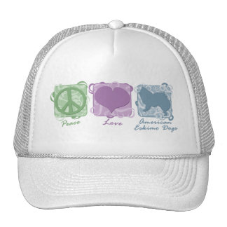 Pastel Peace, Love, and American Eskimo Dogs Trucker Hat