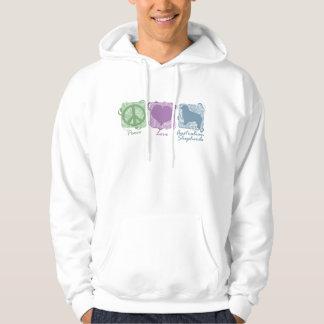Pastel Peace, Love, and Australian Shepherds Hoodie