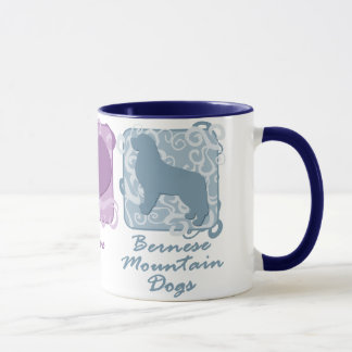 Pastel Peace, Love, and Bernese Mountain Dogs Mug