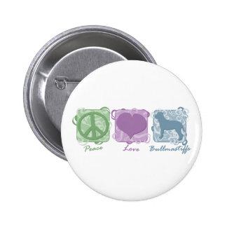 Pastel Peace, Love, and Bullmastiffs 2 Inch Round Button