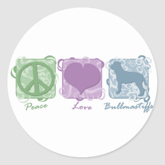 Pastel Peace, Love, and Bullmastiffs Round Sticker