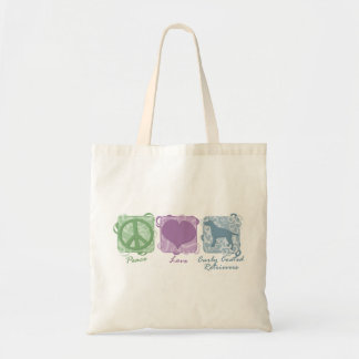 Pastel Peace, Love, and Curly Coated Retrievers Tote Bag
