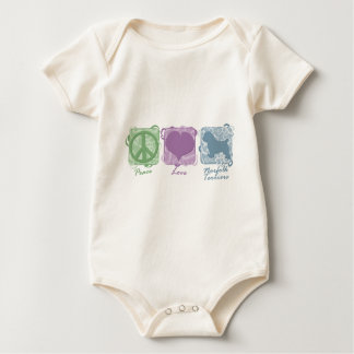 Pastel Peace, Love, and Norfolk Terriers Baby Bodysuit