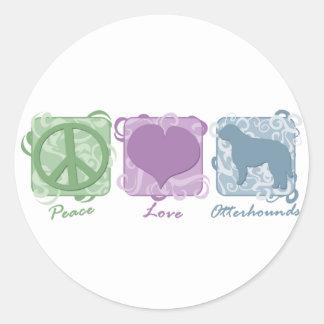Pastel Peace, Love, and Otterhounds Round Sticker