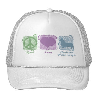 Pastel Peace, Love, and Pembroke Welsh Corgis Mesh Hat